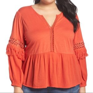 NEW Lucky Brans Cutout Peasant Top Womens Size 2X
